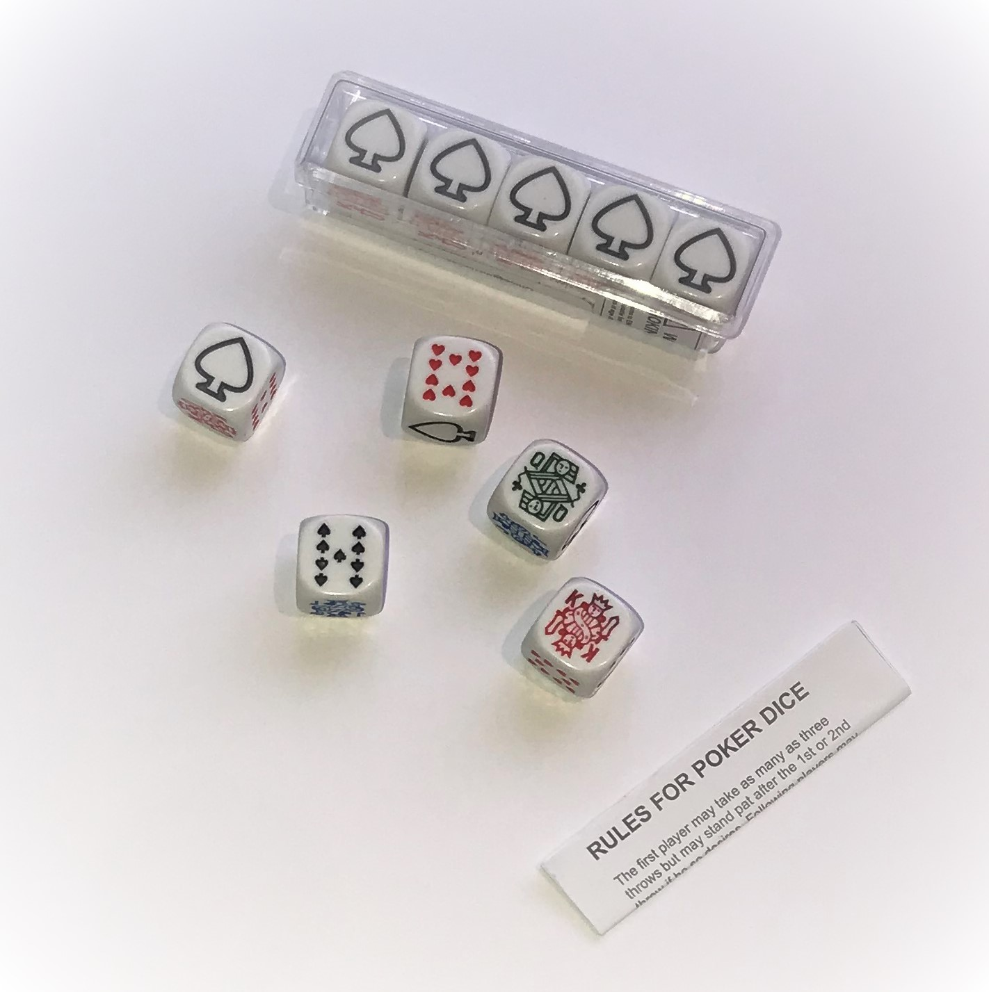 Poker Dice set of 5 New with rules in a plastic case.